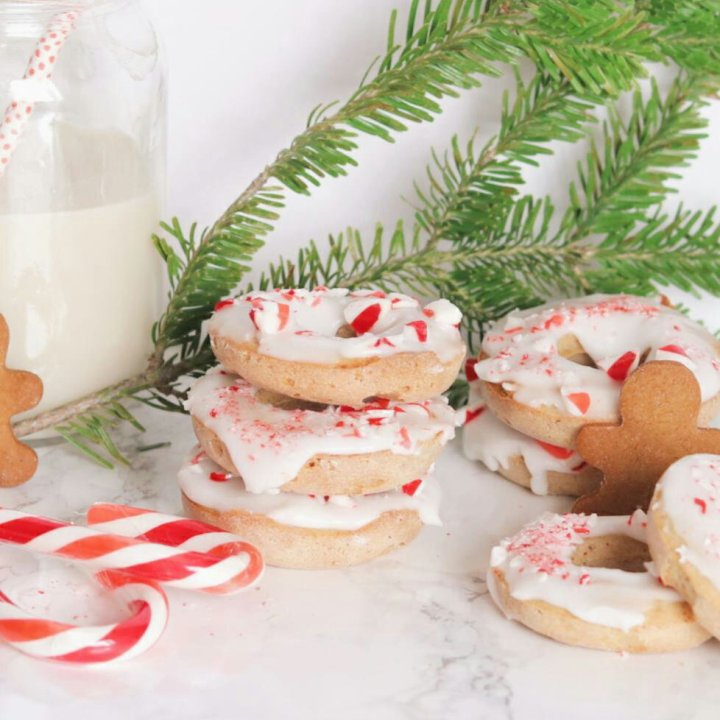 Vegan Candy Cane Donuts